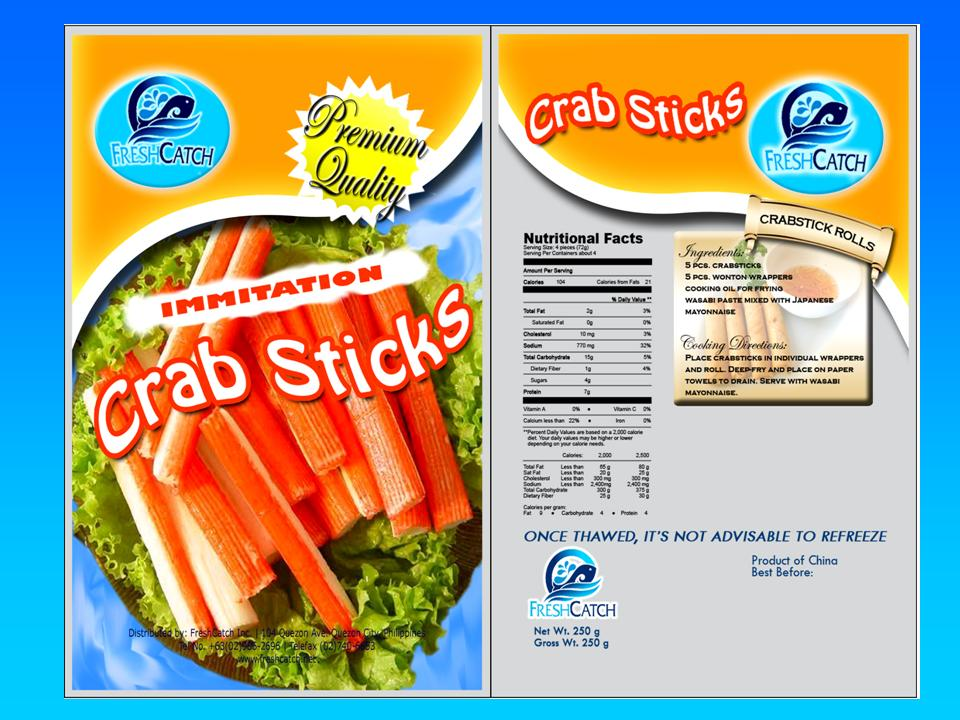 Crab sticks (also called imitation crab meat or labeled as krab) is a type